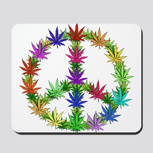 Rainbow Peace Marijuana Leaf Art Mousepad